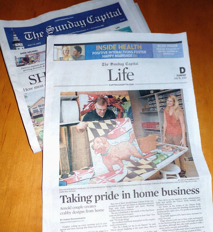 "Honored to be featured in The Sunday Capital Gazette's ""Lifestyle"" section. A Great article by Sarah Hainesworth, and photos by Josh McKerrow."