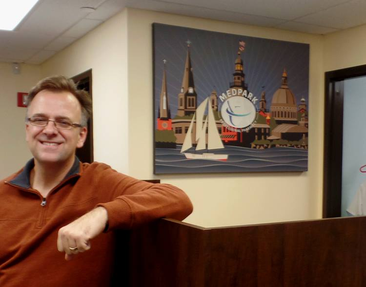 Joe barsin's illustrations highlight local scenes and add color to the room.