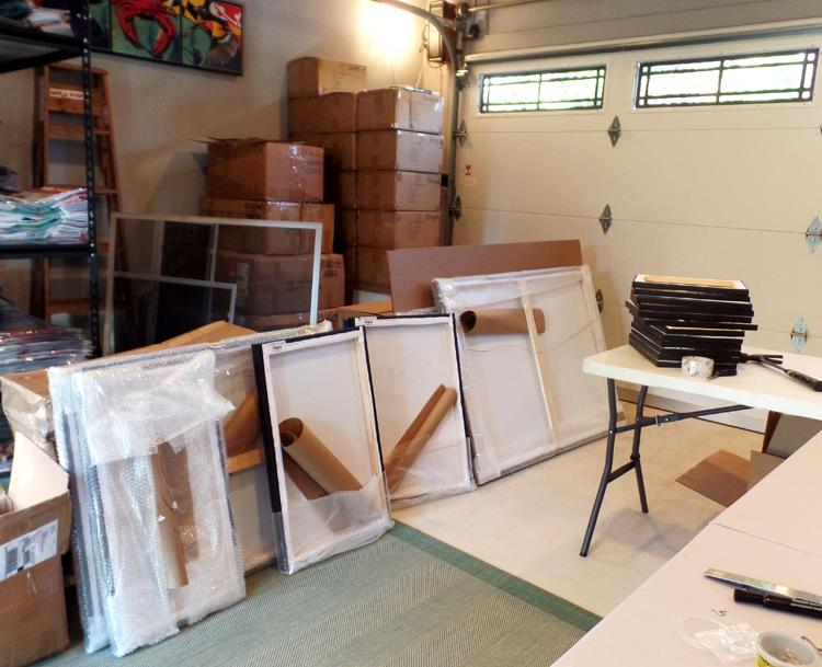 Inside CITIZEN pride's studio. 20 pieces of art, ready to go to medpark pharmacy.