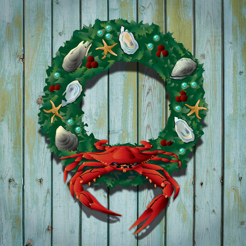 The inspiration! Our Holiday Crab Wreath.
