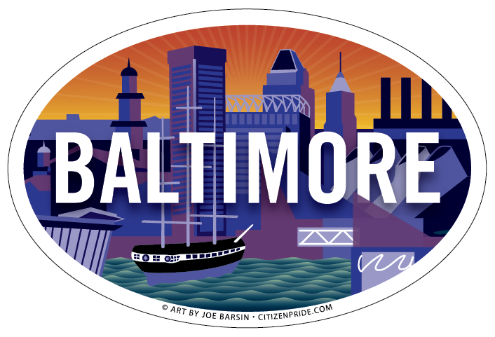 OVAL magnet of Baltimore inner harbor