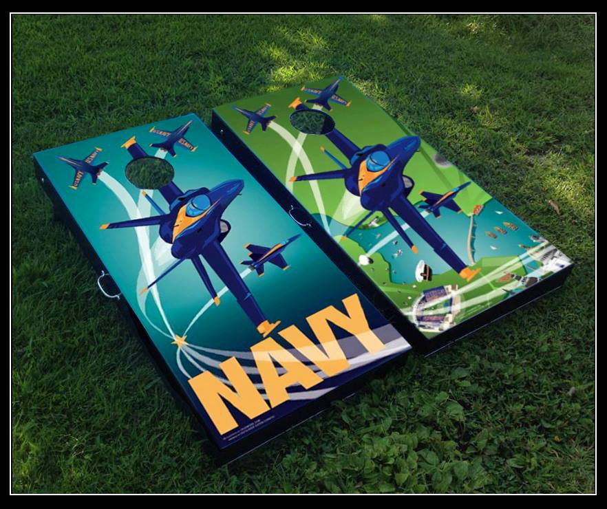 Blue Angels theme Cornhole boards designed by Citizen Pride.