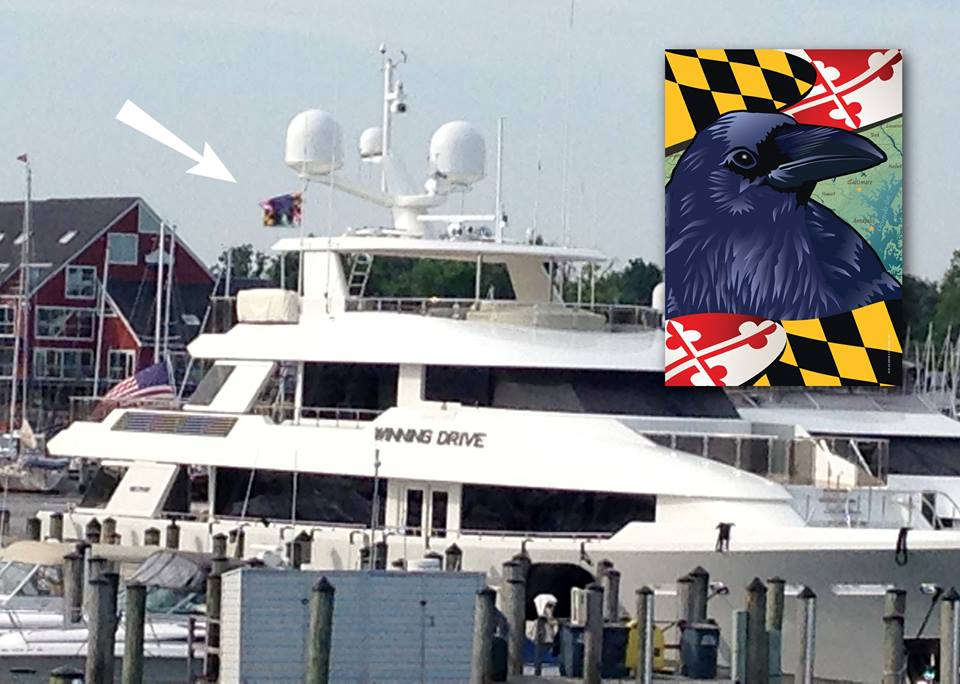 "Citizen Pride Raven flag flying from ""Winning Drive"", docked at the Annapolis Yacht Club!"