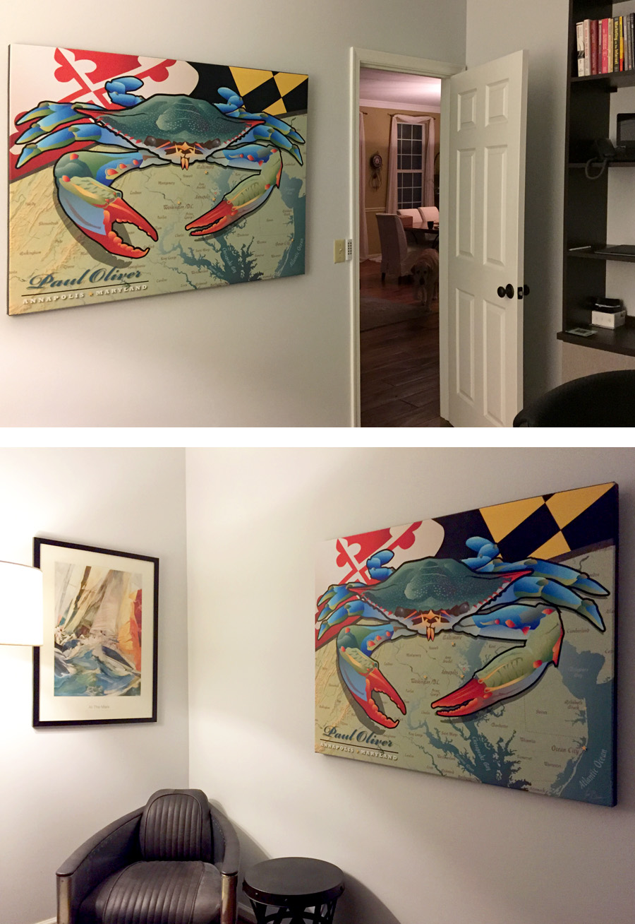 for Home office. Client wanted our Large personalized CP Maryland Blue Crab backdrop for international skype calls!