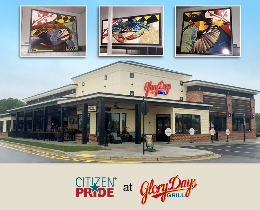 Joe Barsin's Citizen Pride series of large prints on display at Glory Days Grill