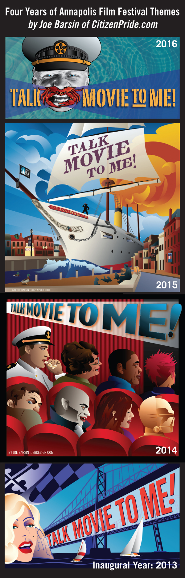 Annapolis Film Festival Posters from 2013, 2014, 2015 and 2016.