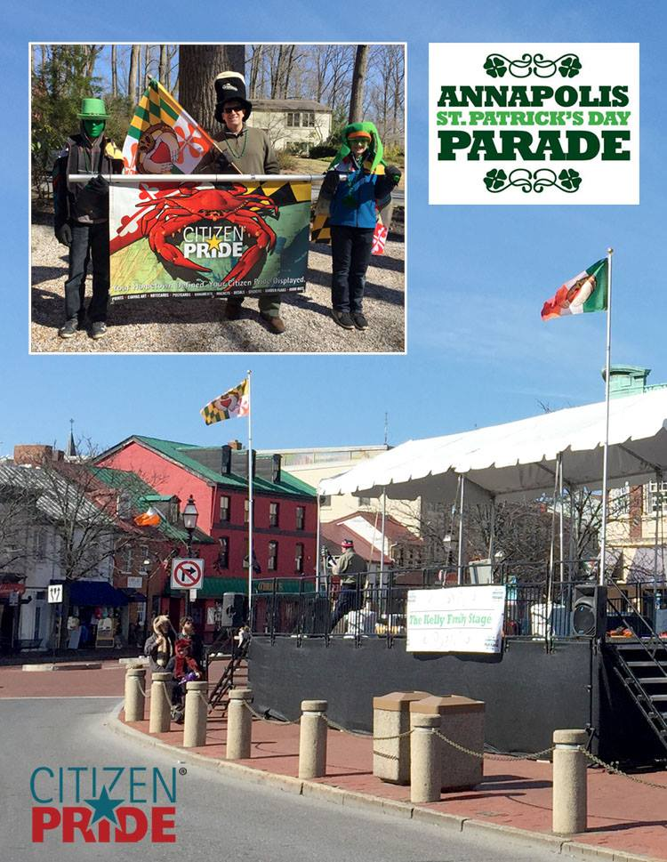 Joe Barsin with his helpful Leprechauns getting our banner ready for the Annapolis St. Patrick's Day parade. This picture shows our Irish Claddagh flags over the Parade grandstand before the festivities started.