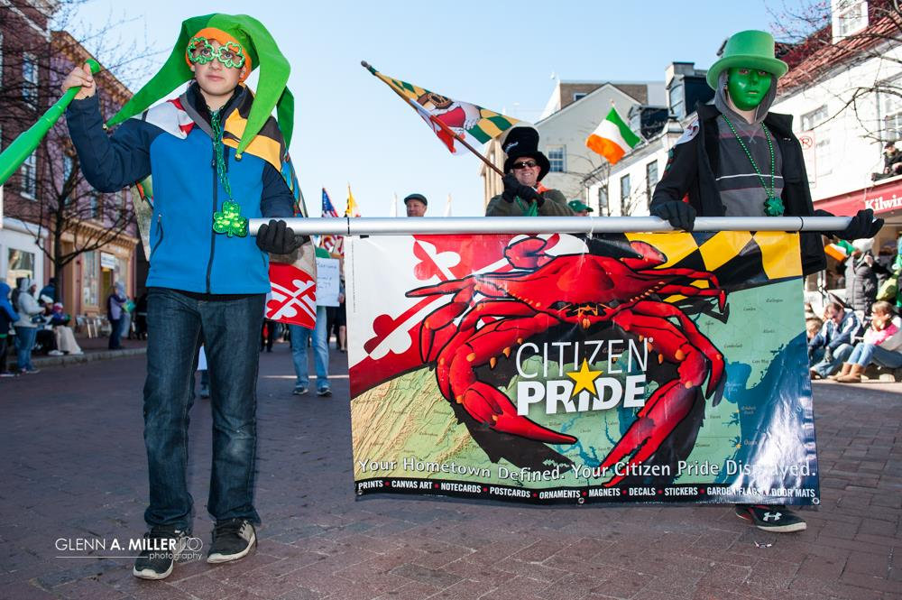 "Joe Barsin, artist of Citizen Pride, is waving our MD Irish flag and our two boys are ""Displaying the Citizen Pride!"