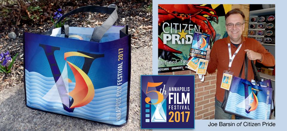 Pictured here is the 2017 Annapolis Film Festival swag bag which is given out to all sponsors. these bags along with other MERCHANDISE, DESIGNED by joe barsin, will be for sale.