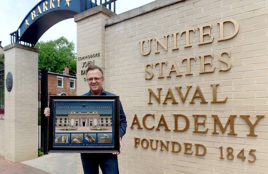 "Joe Barsin holding the 24 x 18 framed print of ""USNA Monuments"".This larger print available at LOCAL BY Design on Main St., Annapolis (next to O'Brians)"