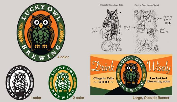 Lucky Owl Brewing logo with concept sketches