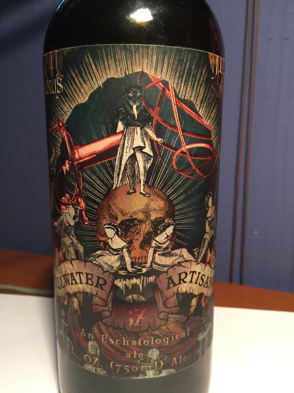 Picture of Stillwater Artisanal's An Eschatological Ale label. A very original beer label design.