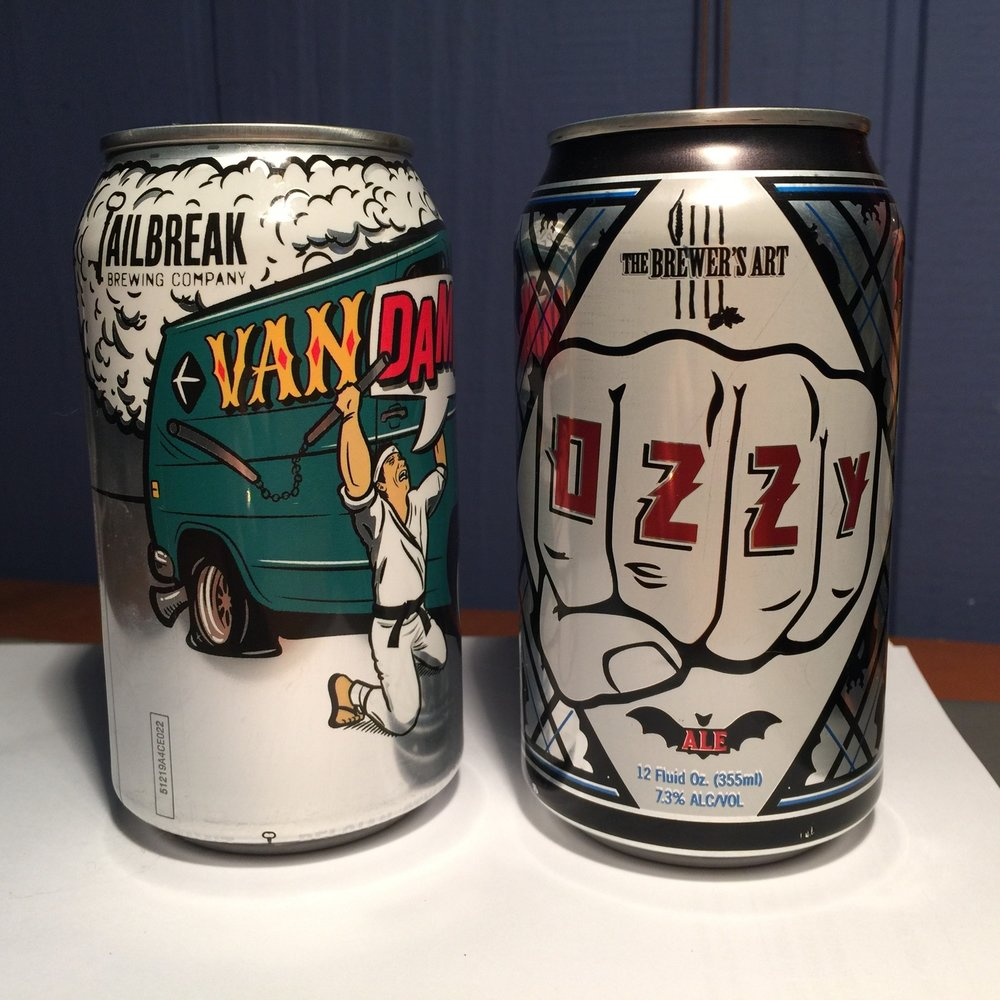 Great examples of Pop-culture influenced beer labels: Jailbreak's Van Dammit and The Brewer's Art's Ozzy (this design was retired after Ozzy Osbourne's lawyers threatened a lawsuit for copyright violation. A case in point of the balance between free speech vs copyrights