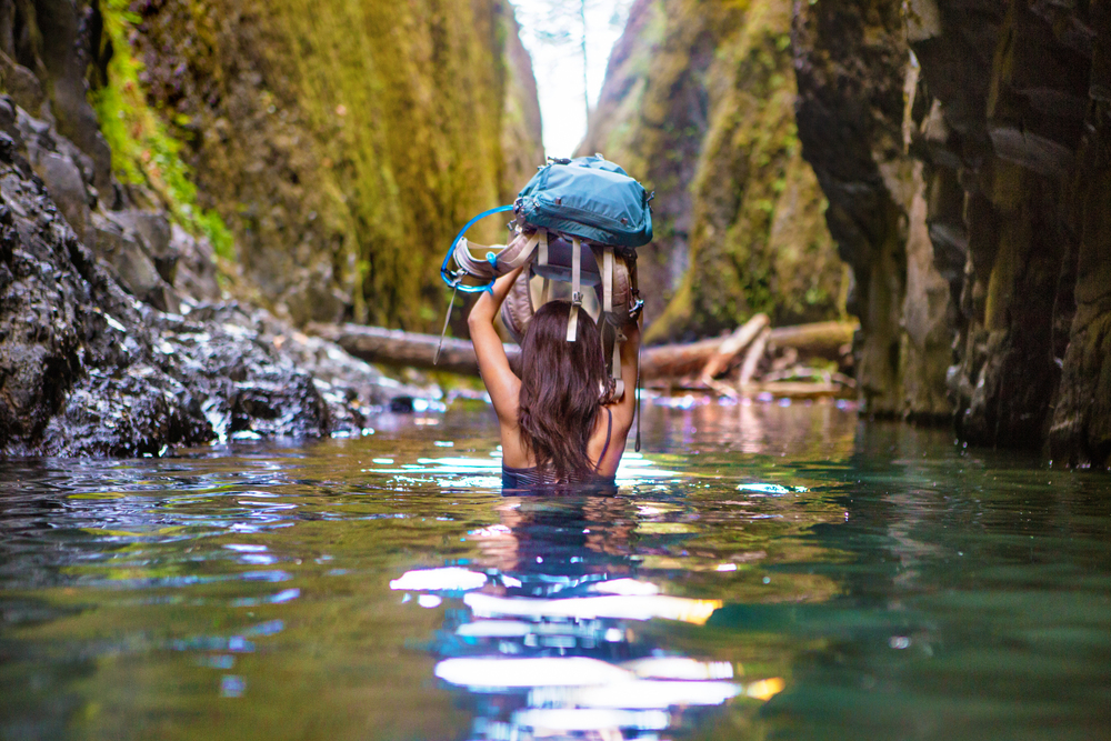 Nicole Fording the River.  REI featured this photo as part of their #rei1440project It was a nice little surprise to wake up to the next day.