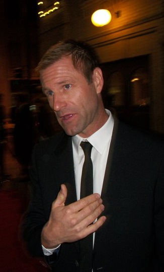 Interviewing Aaron Eckhart at the Denver Film Festival.