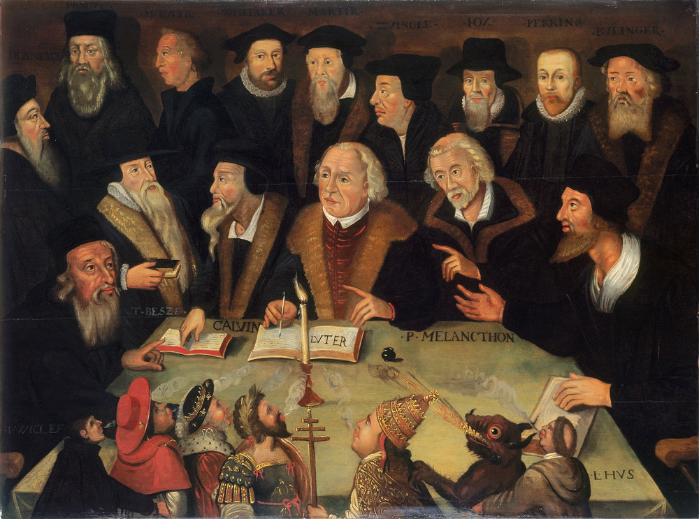 Luther in the circle of reformers  Germany or Holland, 1625/1650 Oil on wood, 67.5 x 90 cm In the center sits Martin Luther, to the right of him Calvin, to the left of him Melanchthon.  German Historical Museum