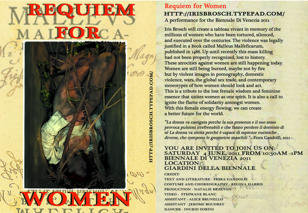 invitation for the performance Requiem for Women