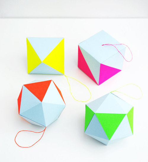 Love this pastel & neon geometric decorations craft kit from Etsy seller, Minieco, from the United Kingdom. These are great for parties, general home decor, and even, Christmas tree ornaments.