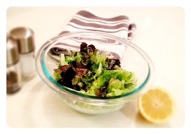 Enjoyed a refreshing light salad with dinner last night. Recipe           Half a lemon           Salt           Pepper           Favorite leafy green           Parmesan cheese (grated) Mix together well in a bowl and enjoy!
