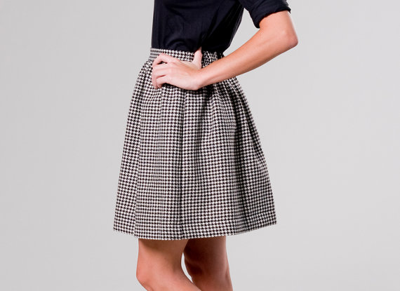 Other textile patterns come and go with the fashion seasons, but houndstooth never goes out of style—it brings a level of sophistication to an outfit unlike any other pattern. That brings me to the high wasted, hand sewn houndstooth skirt by Etsy Seller, Birdtoldme, from Berlin, Germany. What I love about this skirt is the combination of the classic pattern with its flared shape, which imbues it with a girly, fun quality.  It is also incredibly versatile and warm, looking great with black or color tights, boots or pumps, and the list goes on and on!