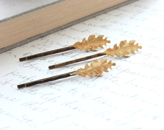 This set of three handmade raw brass oak leaf bobby pins from Etsy Seller, A Pocket of Posies, from Vancouver, British Columbia, will be a whimsical accent to any hairstyle for the upcoming holiday season, whether graced in cascading curls or peaking out of up-dos!
