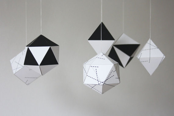 The Christmas ornament DIY kit from Etsy Seller, Little Nest Box, from London, England, includes six ornament designs in black and white. I love the geometric flair of these ornaments, which would work perfectly if your Christmas decorations lean towards the modern style. In addition to being hung on a tree, they would look great adorning gift wrapping or incorporated into a table centerpiece.