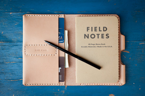 The handmadeField Notes Wallet from One Star Leather Goods is not only stylish but also a great way to keep a notepad handy for lists and joting down ideas on-the-go. As a bonus, it has that quirky Royal Tenenbaums look I do adore!