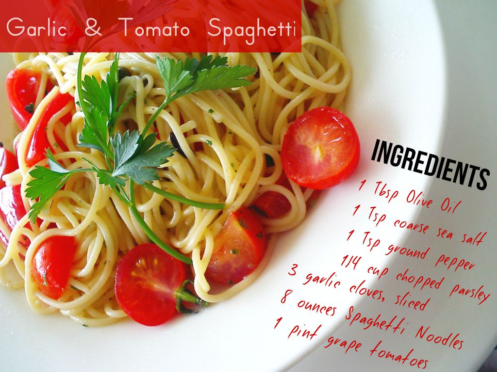 Garlic & Tomato Spaghetti Today, I thought I'd share one of my favorite pasta dishes. Growing up in an Italian family, my cooking always tends to be skewed towards Italian dishes. Personally, I love my pasta dishes to be light and delicious yet filling, and this one is amazing at accomplishing all of these wants. Sometimes I'll make variations of this simple recipe. For example, if multi-colored tomatoes are in season, I'll use those. Sometimes I'll also throw in some buffalo mozzarella. The ingredients are pretty straightforward but what really takes this dish to another level is the freshness of the ingredients. I also find that a good coarse sea salt and high quality olive oil makes a big difference. Enjoy and Ciao!