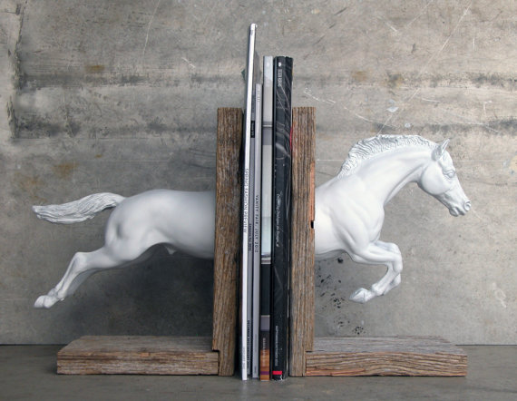 Hunter Jumper Horse Bookend in White, $175.00