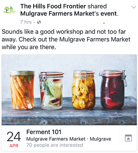 If you're a little hesitant and need some extra assistance before you approach the world of fermentation there are plenty of workshops and classes available to part take in. Like the  Ferment 101  workshop at the Mulgrave Farmers Market this weekend!