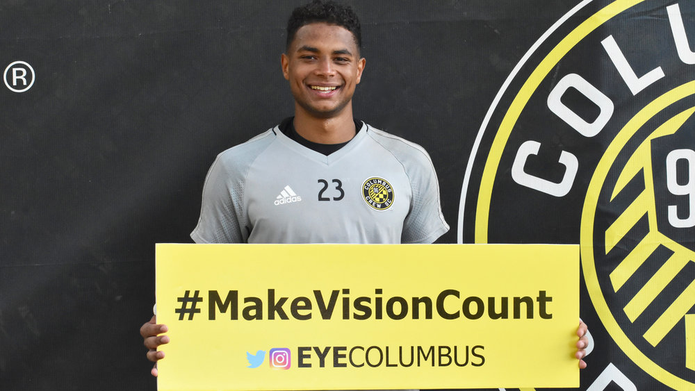 Zack Steffen of Columbus Crew SC helps raise awareness in Eye Columbus' #MakeVisionCount World Sight Day campaign.
