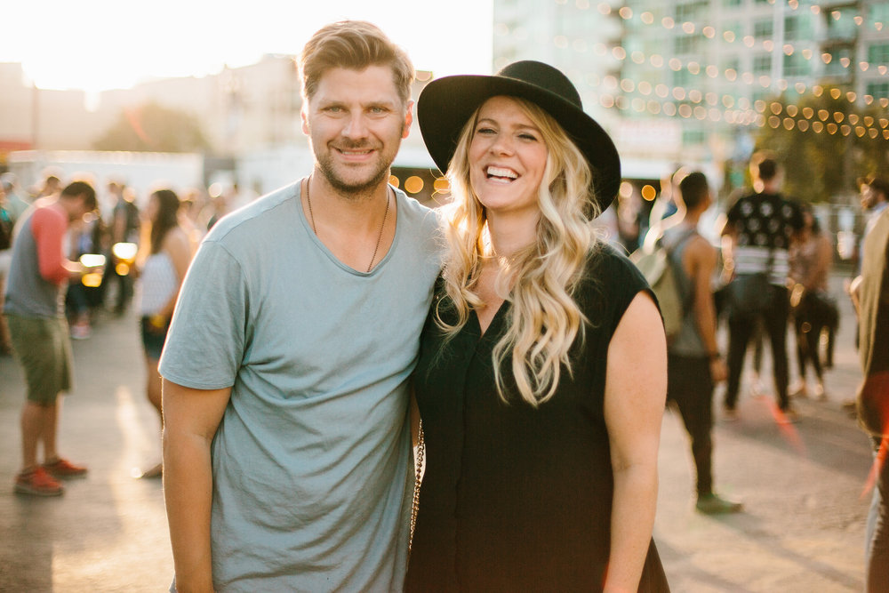 Scott Bakken, Founder & Creative Director of Socality, and his Wife Jessica before the Switchfoot Concert on August 1, 2015.