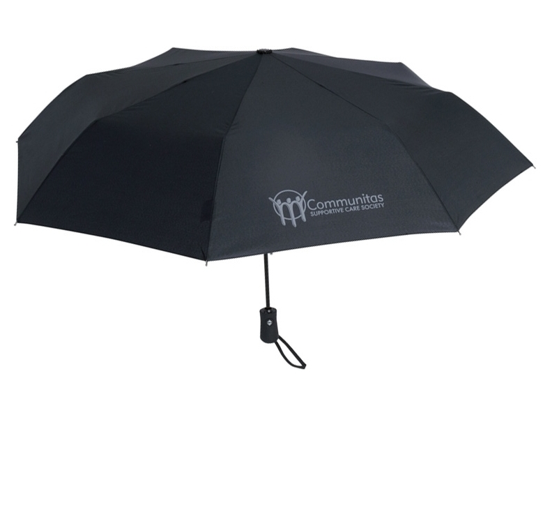 FOLDING UMBRELLAS | sample shown above: Traveller Folding Umbrella ( item #9555 ) logo-printed with COMMUNITAS logo