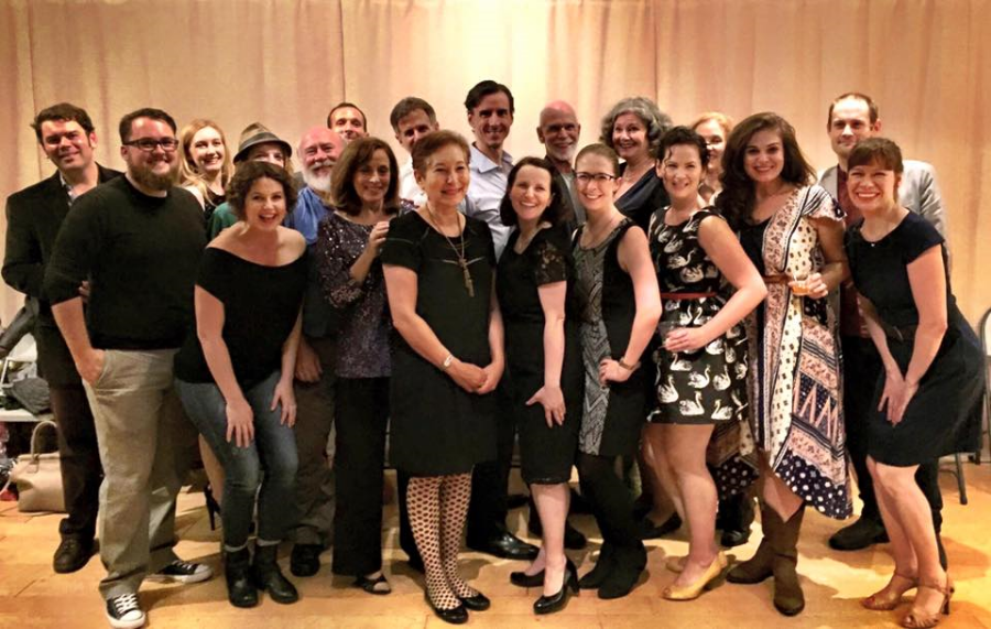 The cast and production team with Elinor Lipman, the best-selling author of  The Inn at Lake Devine, on Opening Night!