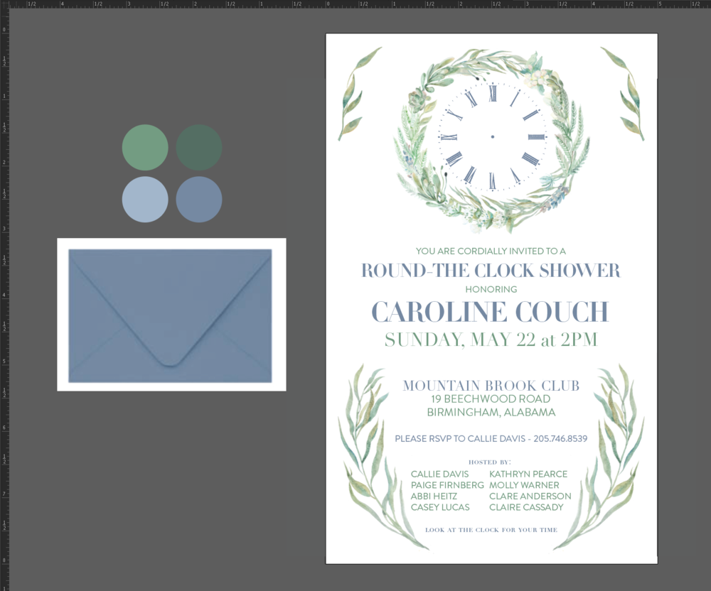 Around the Clock Shower Invitation Design and Hand Lettered ...