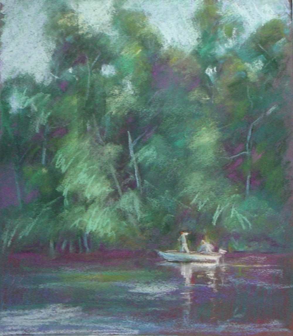 "Crabbing on the Wye River  13"" X 12""  Pastel"
