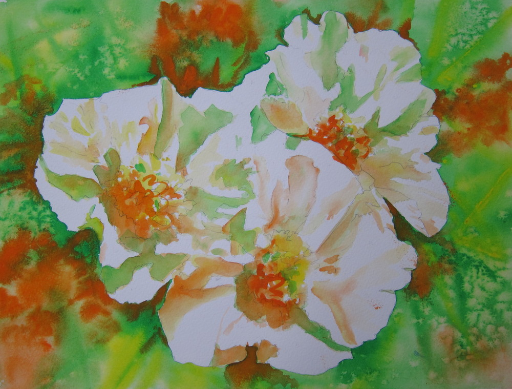 "Peonies for the Irish  11"" X 15""  Watercolor"