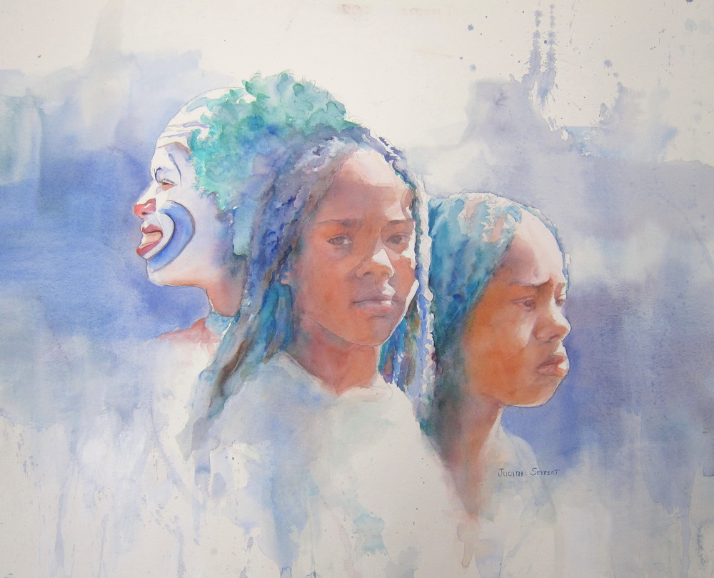 "Three Faces, One Soul  22"" X 30""  Watercolor"