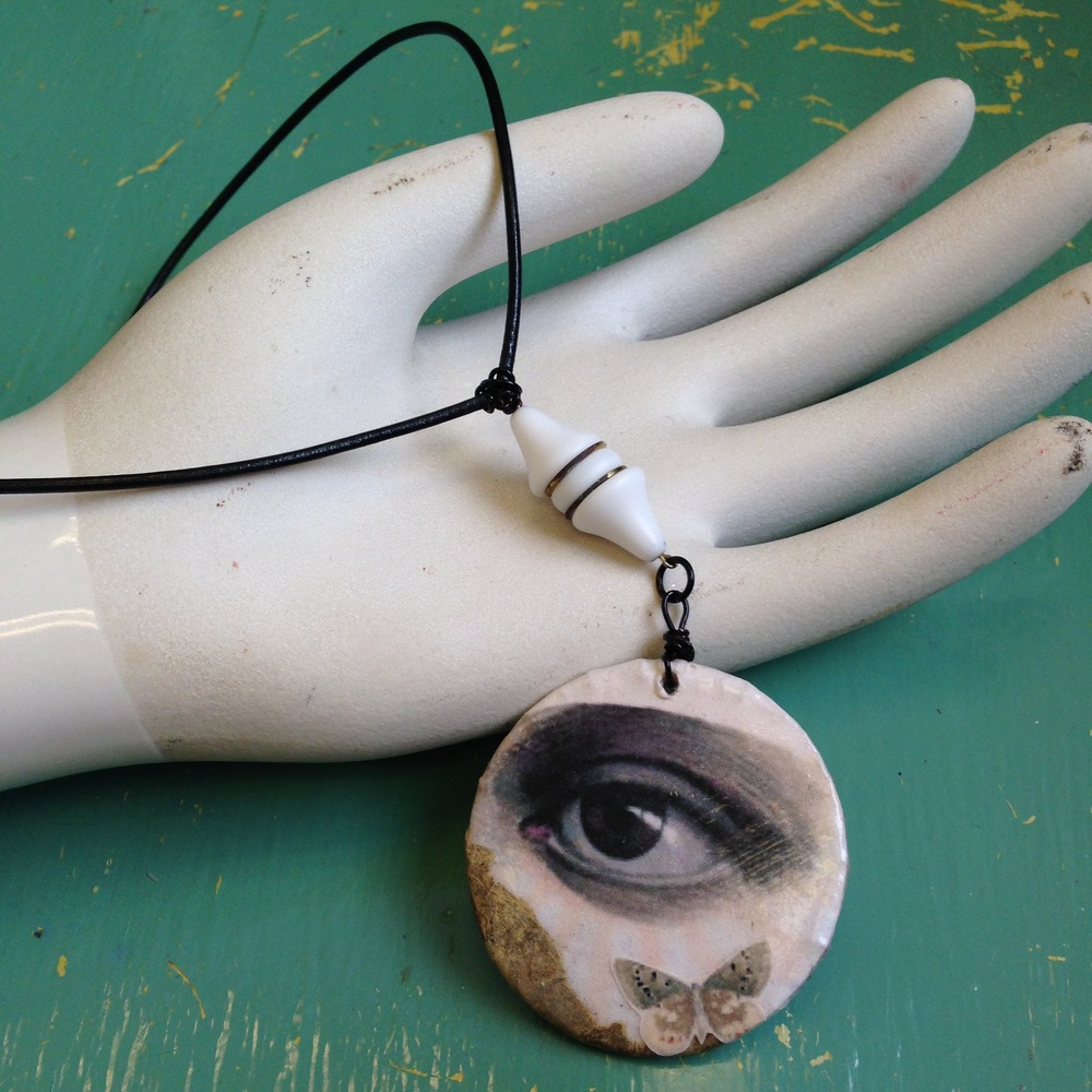 Collage eye necklace with West German ceramic bead.  Find me for sale on Etsy!