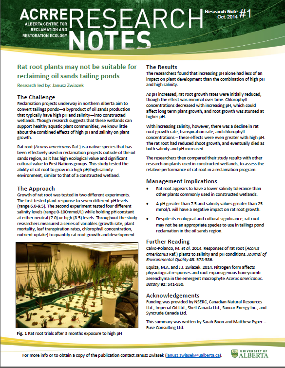 Alberta Centre for Reclamation and Restoration Ecology (ACRRE) Research Note #1