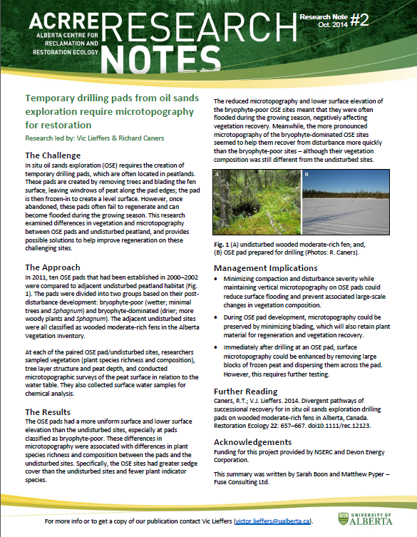 Alberta Centre for Reclamation and Restoration Ecology (ACRRE) Research Note #2