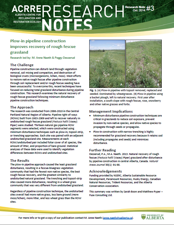 Alberta Centre for Reclamation and Restoration Ecology (ACRRE) Research Note #3