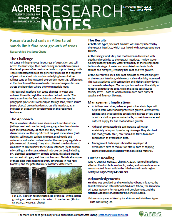 Alberta Centre for Reclamation and Restoration Ecology (ACRRE) Research Note #4