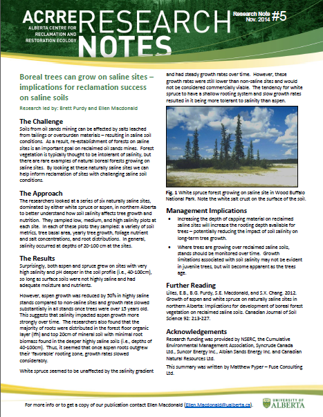 Alberta Centre for Reclamation and Restoration Ecology (ACRRE) Research Note #5