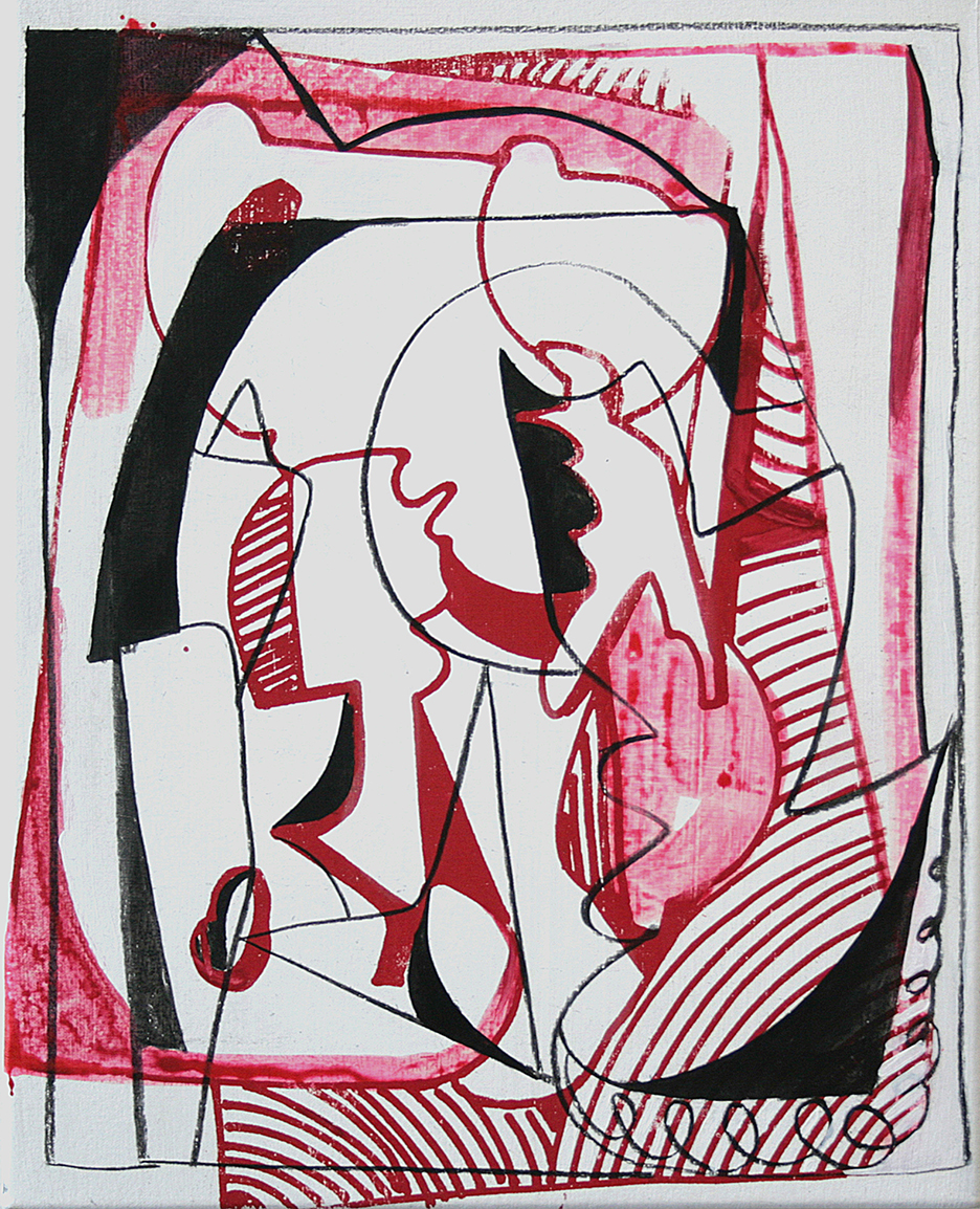 Sofia Leiby Post-Cubist Manifesto 20 by 16 inches Acrylic and screenprint on canvas 2013