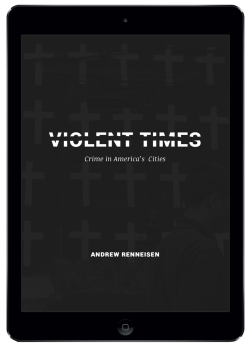 Abby designed this portrait-orientation cover picking up on the divisions violence creates in the families and communities Andrew photographed. This cover is displayed in the iBooks Store and in your iBooks library. Upon opening the book, the landscape-orientation cover (above) is displayed.