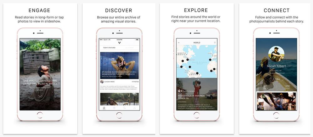 Screenshots of ViewFind iOS app - January 2016