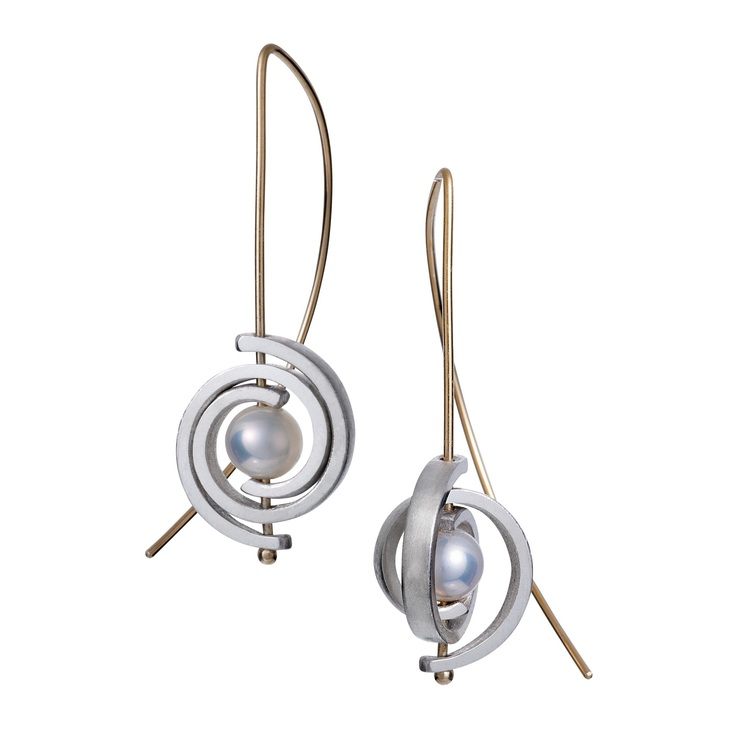 Petite Sterling Silver Spiral Earrings with Gold Wires — Martha Seely