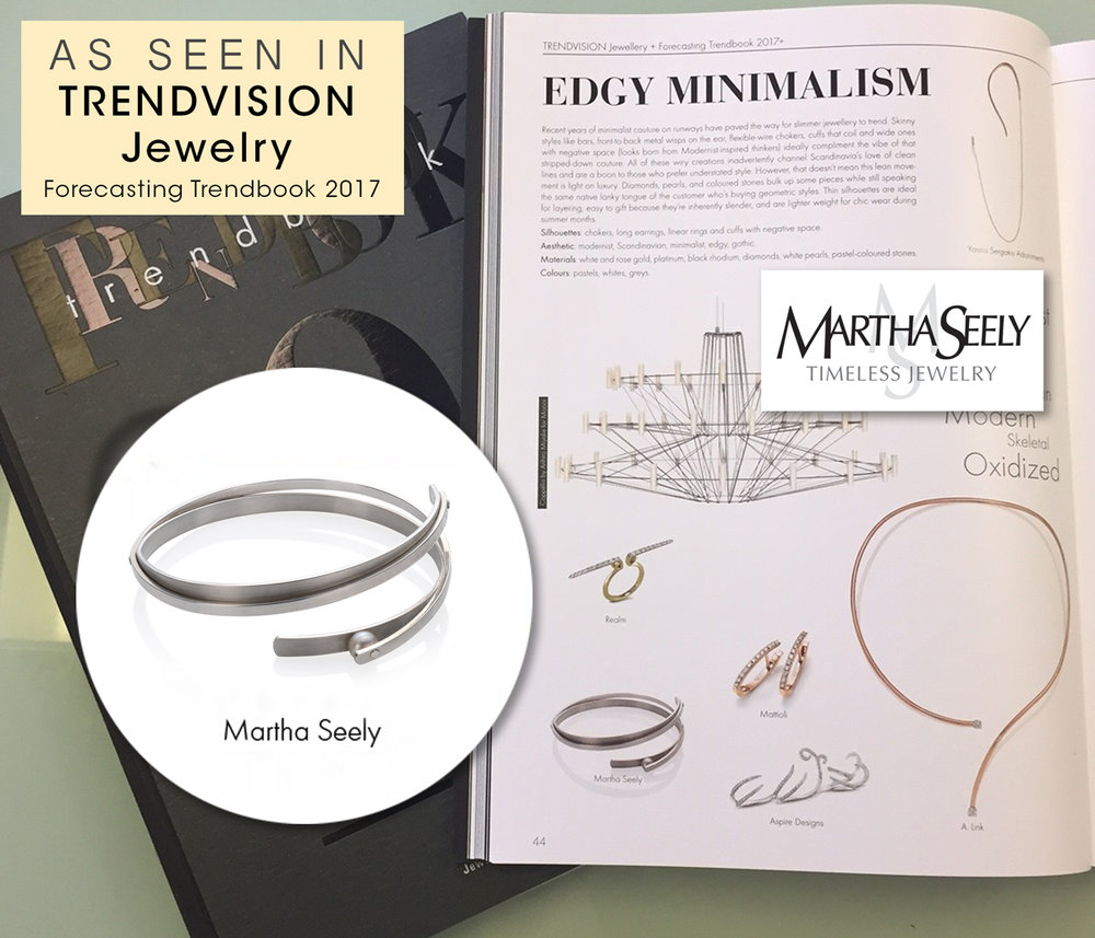TRANSITION BANGLE with Rivet Set Pearl      11.17.16 Included in the Trendvision Jewellery Trendbook  2017 included The Transition Bangle in the in their latest issue! This category celebrates modernist, Scandinavian,  minimalist and edgy jewelry in pastels, greys and whites  ,