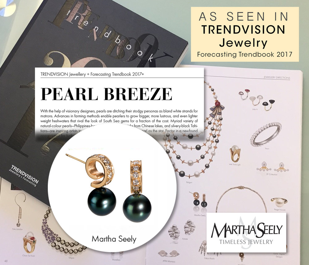 CIRRUS Tahitian Pearl Post Earrings with Diamonds 11.17.16  Included in the Trendvision Jewellery Trendbook 2017 has included the CIRRUS earrings in their Pearl Breeze category. This category celebrates pearls that have rid themselves of their stodgy  personals.